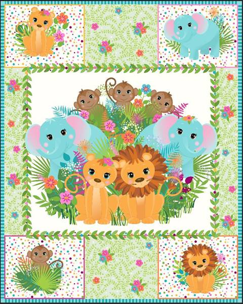 Safari Animals Quilt Top Panel 13