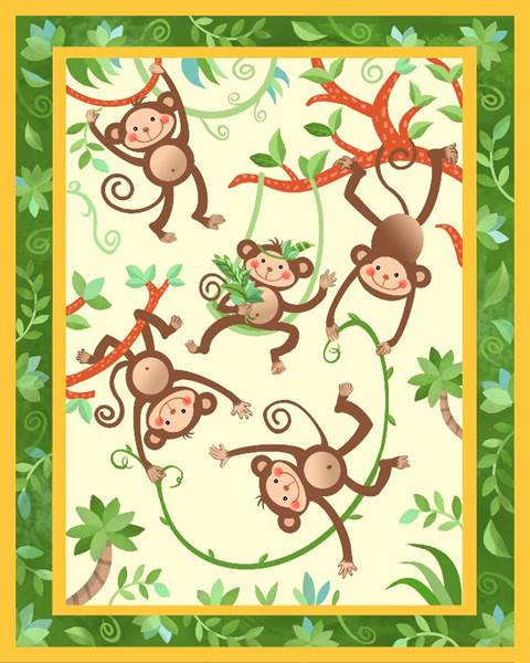 Jungle Monkeys Quilt Top Panel 08