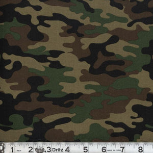 Kickin Camo Army Green Cotton Fabric BTY