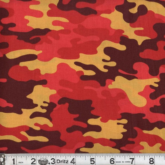 Kickin Camo Blaze Cotton Fabric BTY