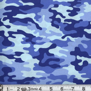 Kickin Camo Blues Cotton Fabric BTY