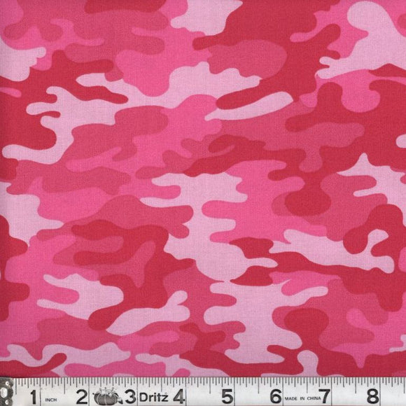 Kickin Camo Hot Pink Cotton Fabric BTY