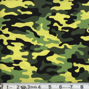 Kickin Camo Neon Green Cotton Fabric BTY