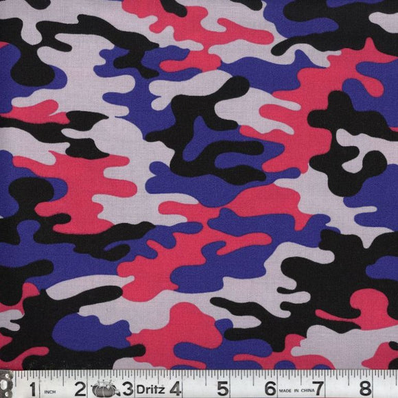 Kickin Camo Psychedelic Cotton Fabric BTY