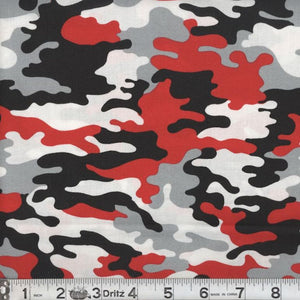 Kickin Camo Real Red Cotton Fabric BTY