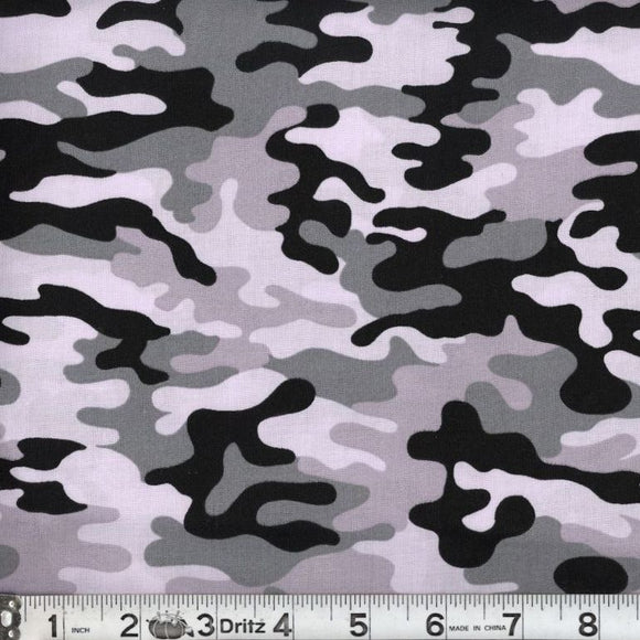 Kickin Camo Snow Cotton Fabric BTY