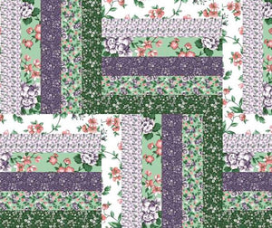 "Log Cabin Purple 90"" x 36"" Cheater Quilt Top Print 1353"
