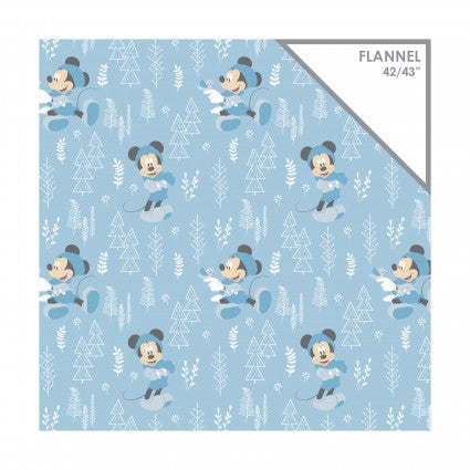 Mickey Blue Little Meadow Forest Flannel Fabric BTY