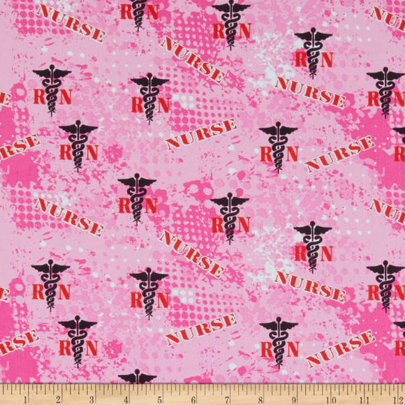 Nurse Abstract Geo Logo Pink Cotton Military Prints Fabric BTY