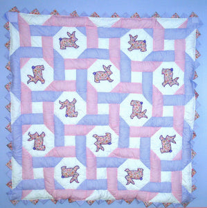Bunnies Intertwined Baby Quilt Kit*