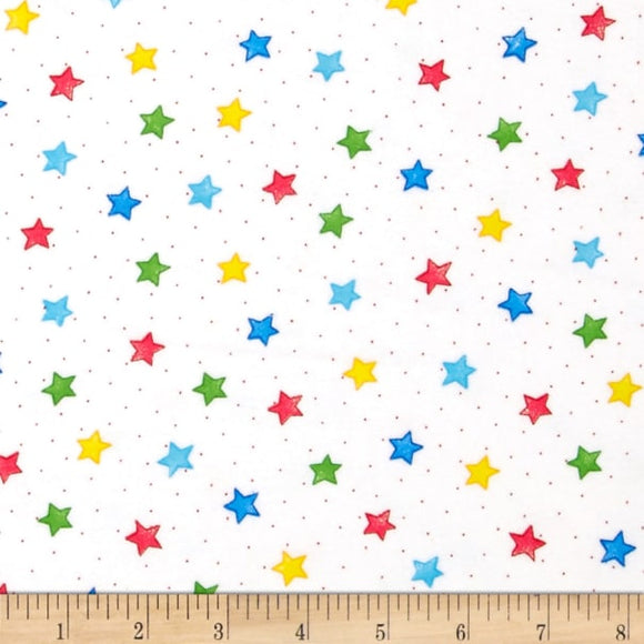 Comfy Flannel White w/ Primary Stars BTY