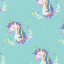 Aqua Unicorn Flannel Fabric BTY