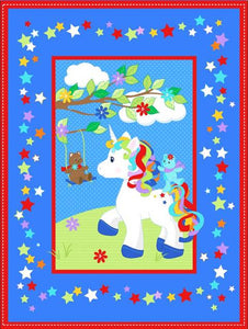 Unicorn Stars Quilt Top Panel 17