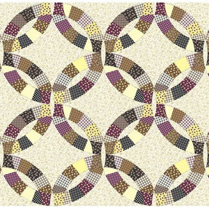"Double Wedding Ring Burgundy 90"" Cheater Quilt Top Print 269 BTY"