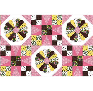 "Dresden Patch Pink 90"" Cheater Quilt Top Print 1044 BTY"