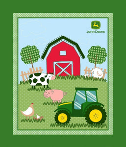 John Deere Barn Yard Quilt Top Panel 19178