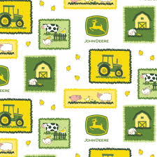 John Deere Farm Scene Patches Fabric
