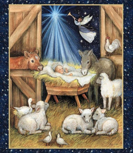 Nativity Barn Christmas Panel