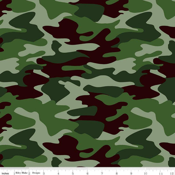 Nobody Fights Alone Camouflage Green Cotton Fabric BTY