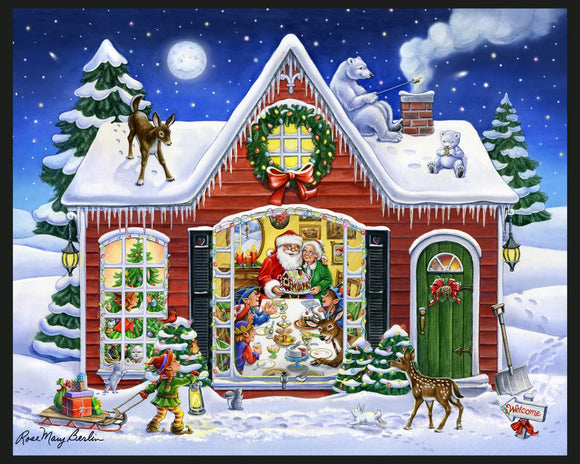 Santa's House by Rose Mary Berlin - Christmas Panel