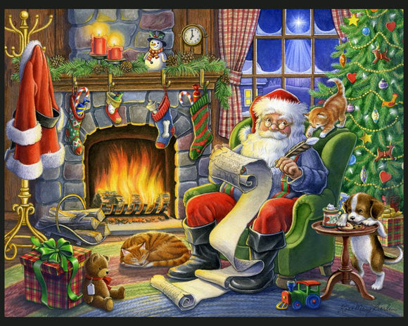 Santa's List by Rose Mary Berlin - Christmas Panel