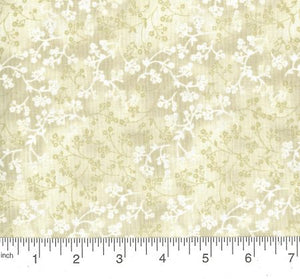 Razzle Dazzle White Natural Floral Tone on Tone Fabric BTY