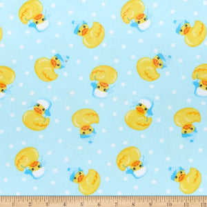 Comfy Flannel Rubber Duckies Blue Fabric 0976-11 BTY