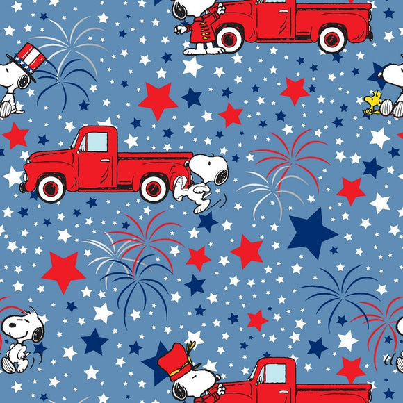 Snoopy Patriotic Metallic Red Truck Fabric 20128