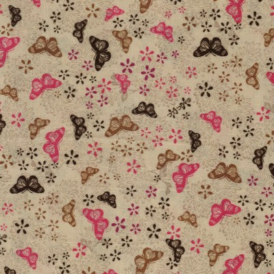 In Flight Floating Butterflies Chocolate / Pink Fabric BTY