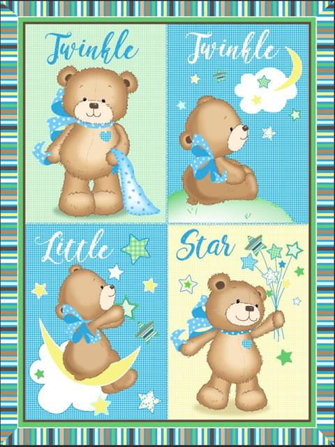Twinkle Little Star Bears Baby Panel 16