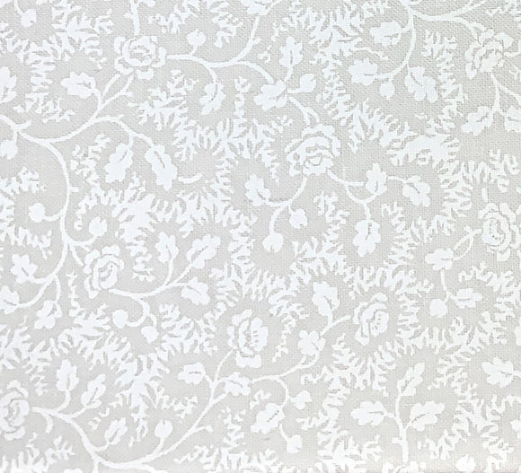 Vintage Vine White Floral Tone on Tone Fabric BTY