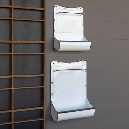 Enamel Painted Kitchen Towel Holder & Wall Bin, Set of 2