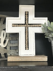 Beaded Wood Cross