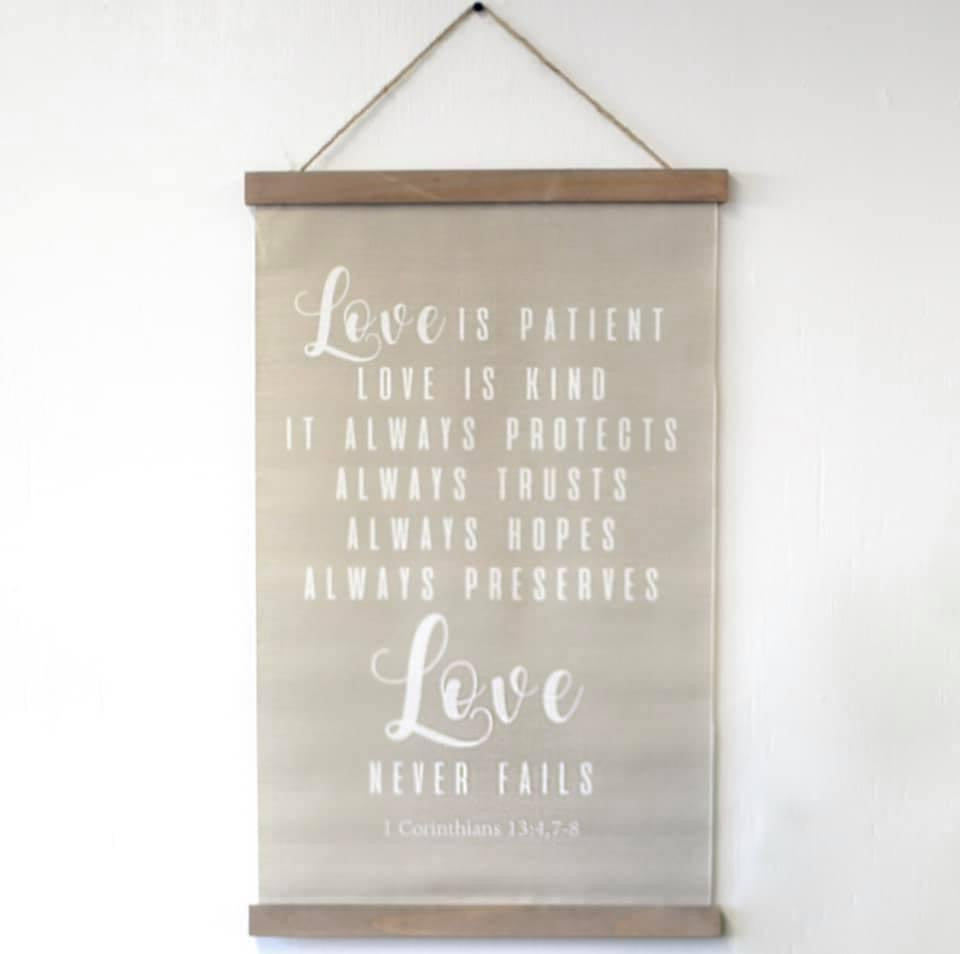 Love Never Fails Linen Wall Scroll