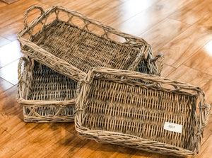 Set of 2 Willow Tray with Handles