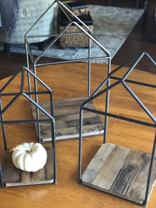 Wood and Metal House Frame Set of 3