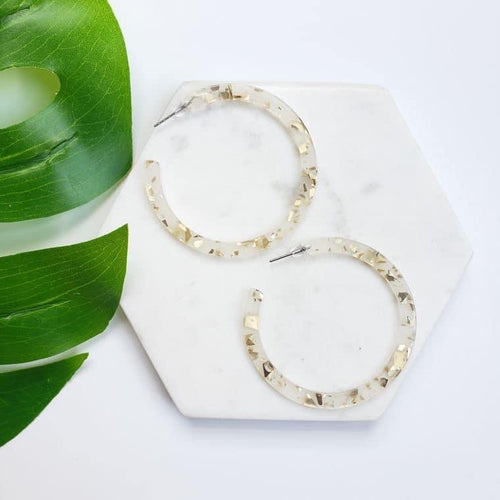 Happy Holidays Gold Flake Hoop Earrings