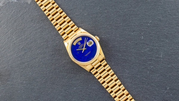 Rolex 18K Yellow Gold Oyster Perpetual Day-Date President with Lapis Lazuli Dial Watch | Veralet
