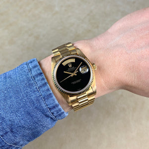 Rolex 18K Yellow Gold Oyster Perpetual Day-Date President Vintage Watch with Black Onyx Dial and Papers | Veralet