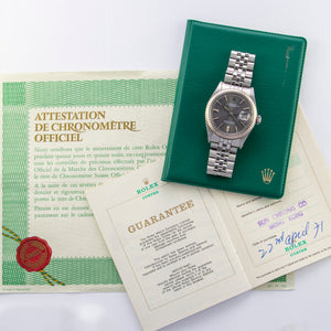 Rolex Stainless Steel and 18K White Gold Oyster Perpetual Datejust Vintage Watch with Storm Grey Dial and Original Papers | Veralet