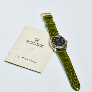 Rolex Two-Tone Oyster Perpetual Charcoal Matte Datejust Vintage Watch | Veralet