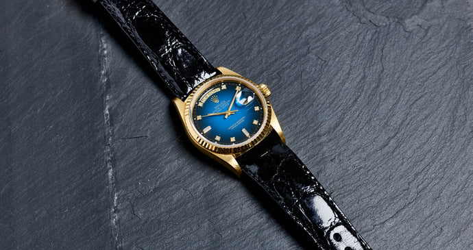Rolex 18K Yellow Gold Oyster Perpetual Blue Vignette Diamond Day-Date Vintage Watch | Veralet