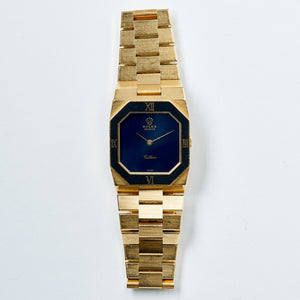 Rolex 18K Yellow Gold Cellini Blue Stone Geometric Vintage Watch | Veralet