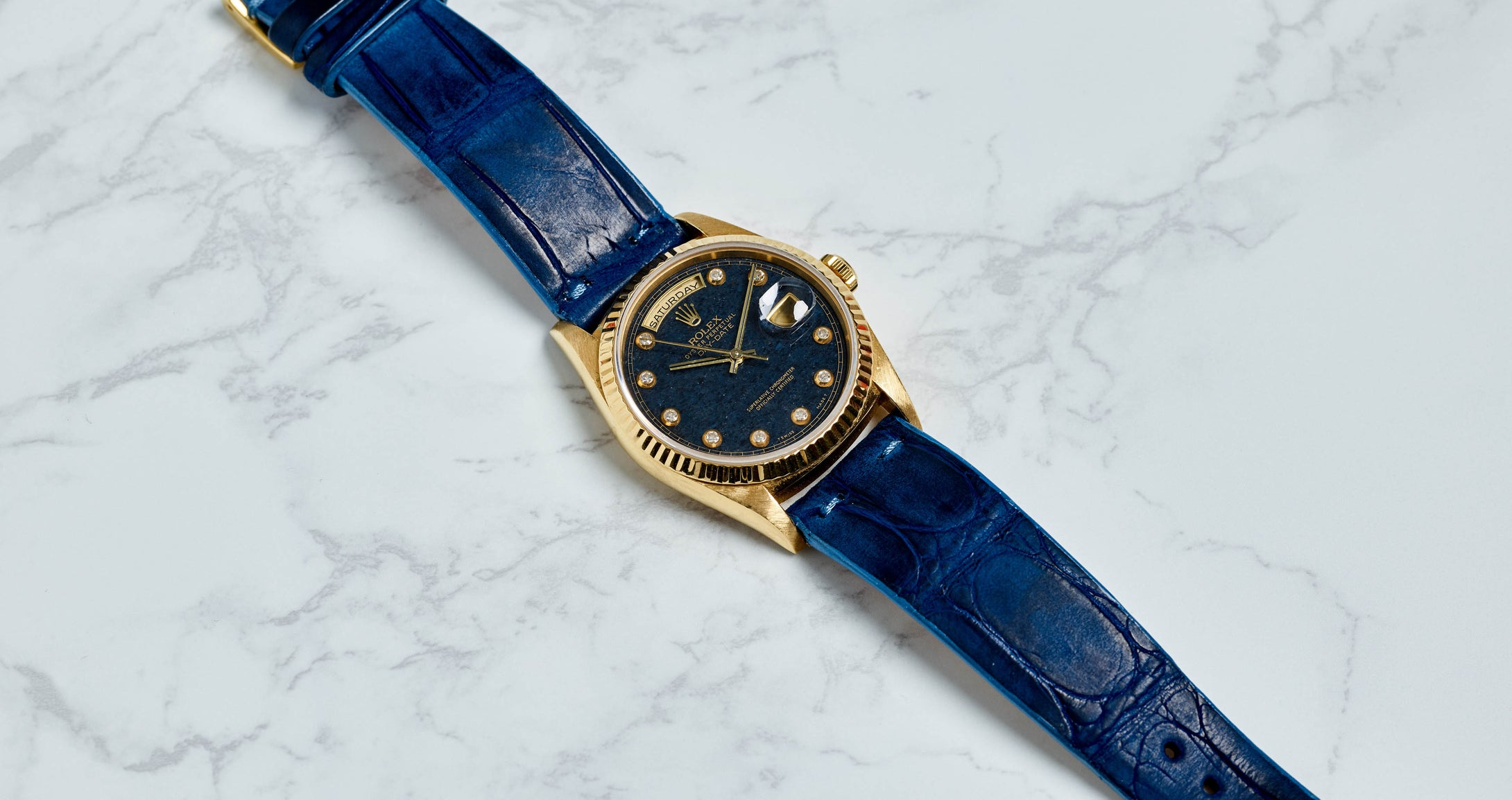 Rolex 18K Yellow Gold Day-Date Blue Aventurine Diamond