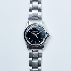 Rolex Stainless Steel Oyster Perpetual Black Gilt Vintage Watch | Veralet
