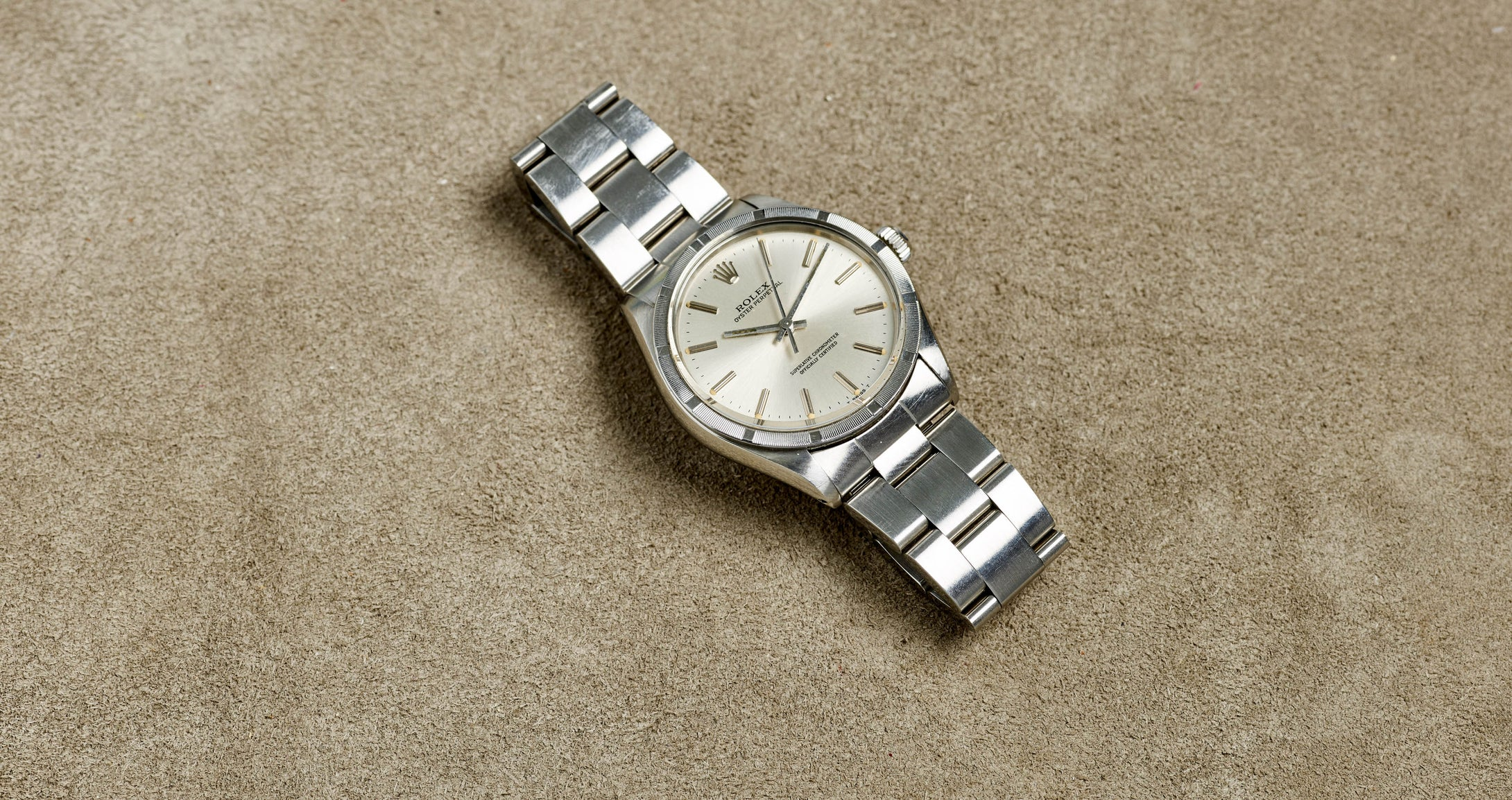 Rolex Stainless Steel Oyster Perpetual Silver Stick Vintage Watch | Veralet