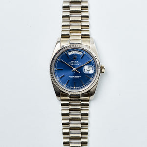 Rolex 18K White Gold Oyster Perpetual Cobalt Blue Day-Date President Vintage Watch | Veralet