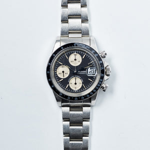 Tudor Stainless Steel Big Block Black Wide Index Oysterdate Chronograph Vintage Watch | Veralet