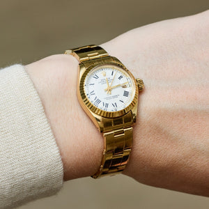 Rolex 18K Yellow Gold Ladies Oyster Perpetual White Buckley Datejust Vintage Watch | Veralet