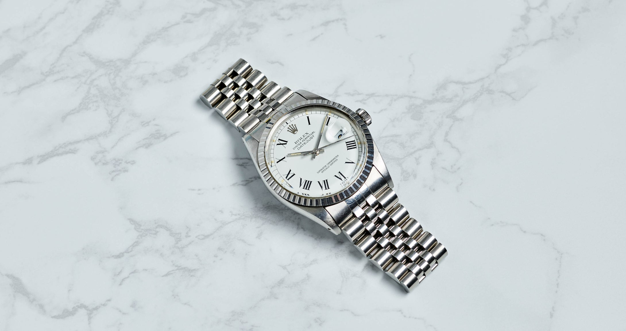 Rolex Stainless Steel Oyster Perpetual White Buckley Datejust Vintage Watch | Veralet